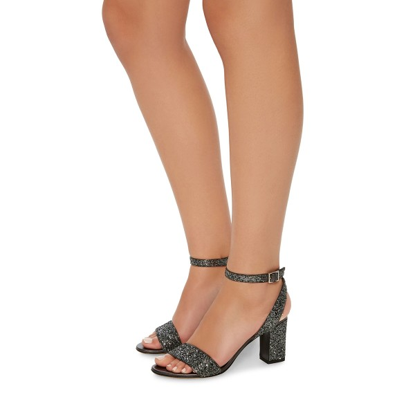 Grey Glitter Shoes Open Toe Ankle Strap Block Heel Sandals image 4