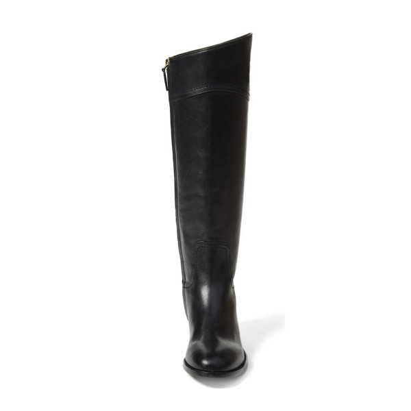 Black Riding Boots Round Toe Shiny Vegan Leather Flat Knee Boots image 2