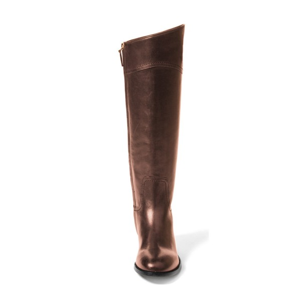 Brown Riding Boots Round Toe Shiny Vegan Leather Flat Knee Boots image 4