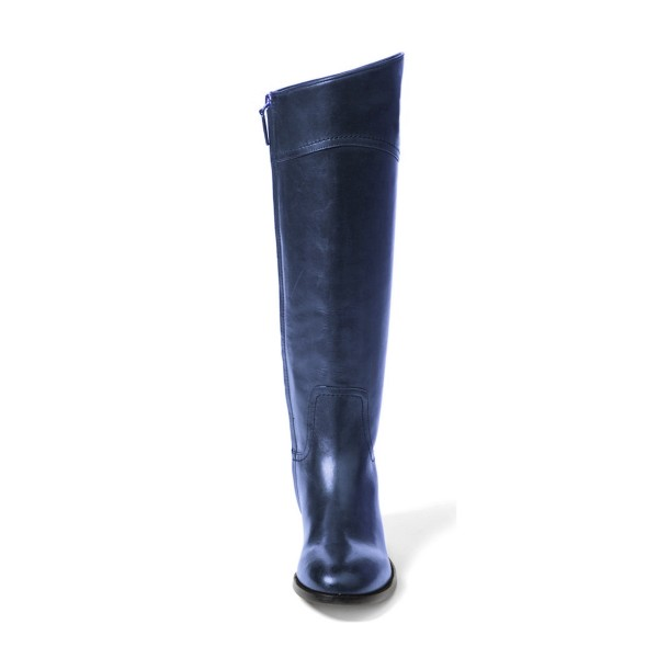 Navy Fashion Boots Flat Knee-high Comfy Boots image 4