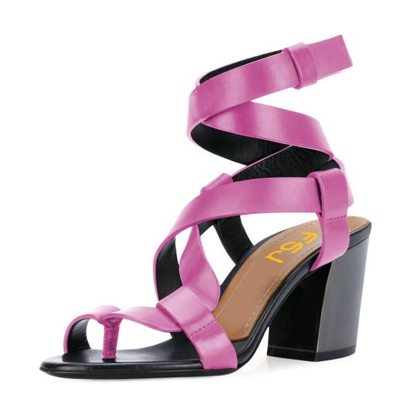 Hot Pink Strappy Sandals Toe-knob Block Heels image 1