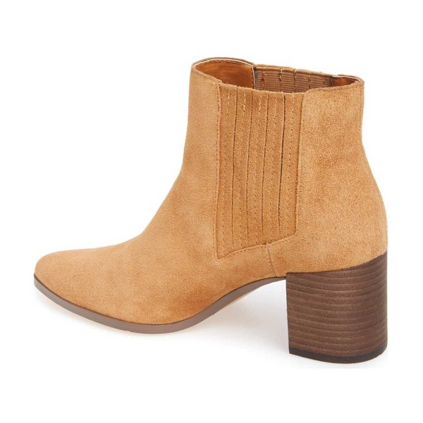 Mustard Suede Wooden Chunky Heel Boots Pointy Toe Comfy Ankle Boots image 2