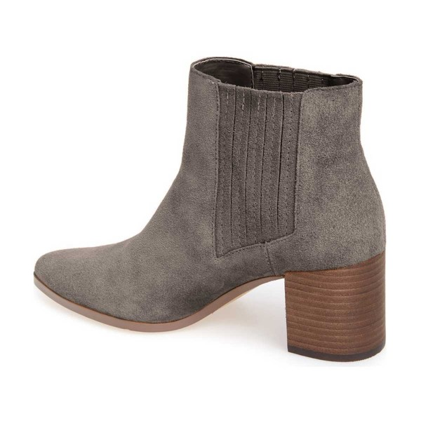 Dark Grey Suede Slip on Boots Pointy Toe Block Heel Vintage Boots image 2