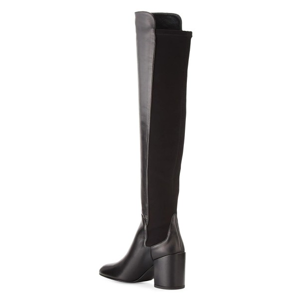 Black Square Toe Boots Block Heel Over-the-Knee Long Boots image 4
