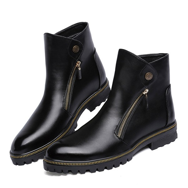 Black Fashion Motorcycle Boots Round Toe Flat Short Boots image 4