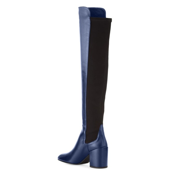 Navy Square Toe Boots Block Heel Over-the-Knee Long Boots image 4