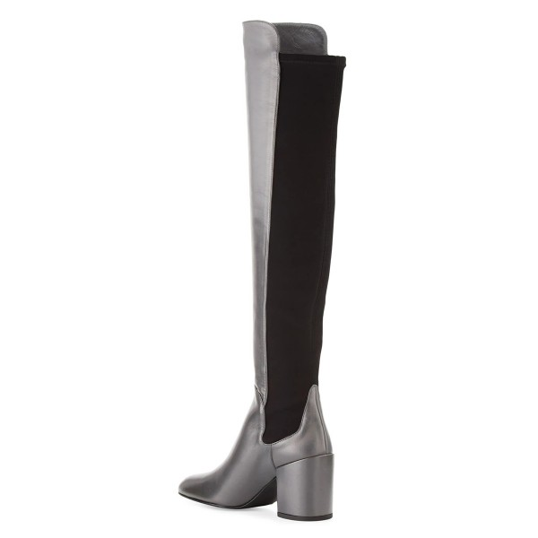 Dark Silver Long Boots Square Toe Over-the-knee Chunky Heels image 4