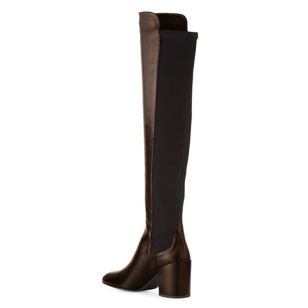 Women's Chocolate Slip-on Square Toe Over-the-Knee Chunky Heel Boots image 2
