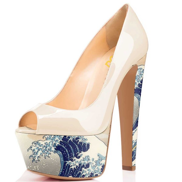 Women's White Waves Printed Chunky Heels Pumps Shoes image 1