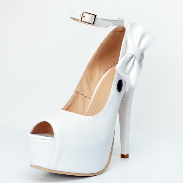 White Ankle Strap Heels Peep Toe Platform Pumps with Bow image 3