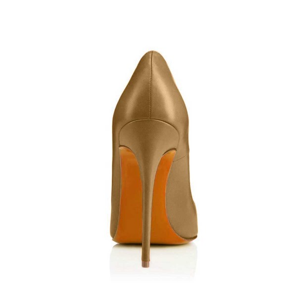 Dark Goldenrod Dress Shoes Stiletto Heels 4 Inches Pointy Toe Pumps image 3
