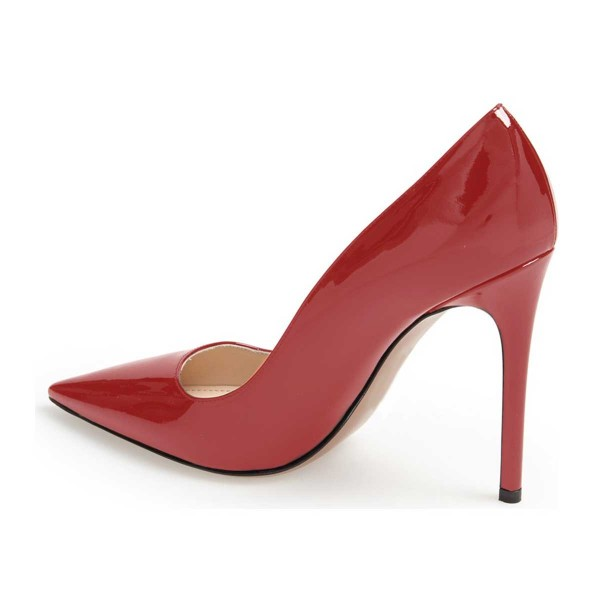 Red Office Heels Patent Leather Pointy Toe Stiletto Heel Shoes Image 3