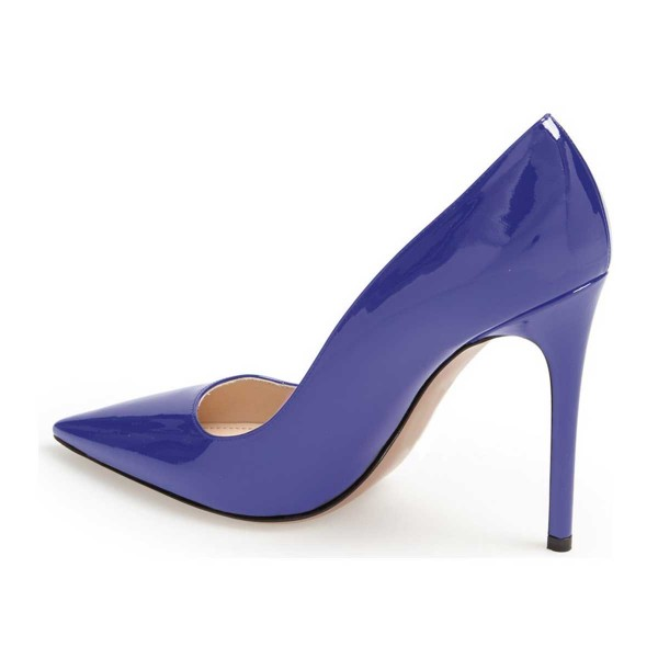 Cobalt Blue Shoes Patent Leather Pointy Toe Pumps Office Heels  image 4