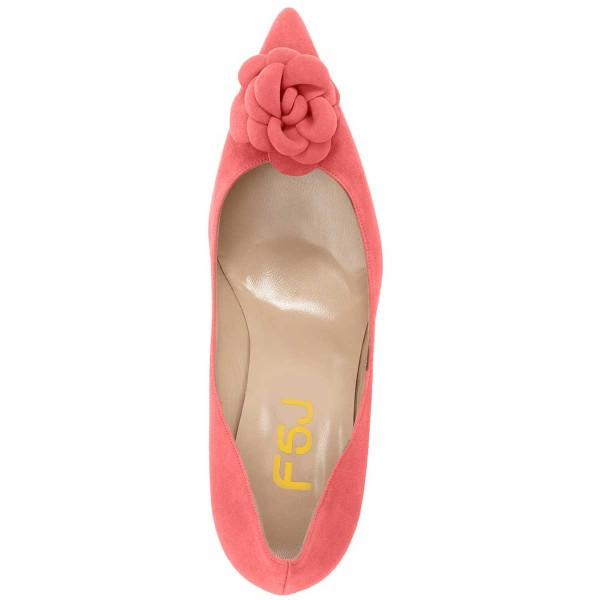 Pink Suede Shoes Pointy Toe Kitten Heel Pumps with Flower image 4