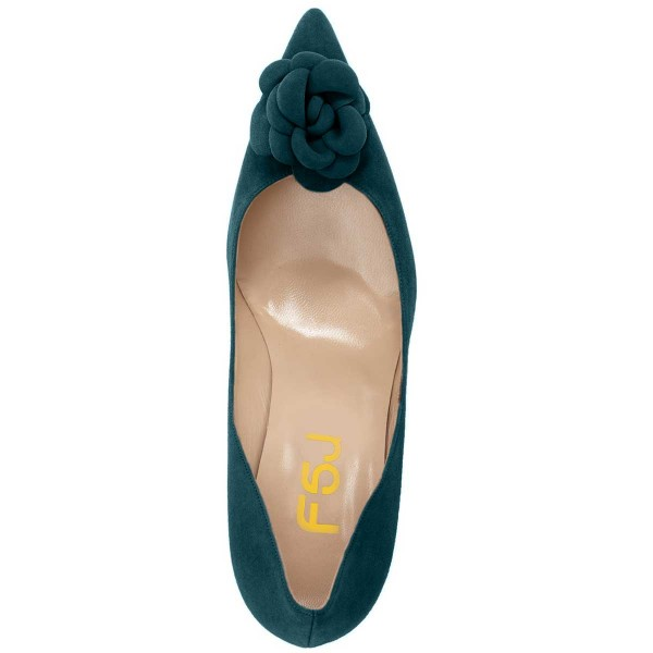 Teal Suede Shoes Pointy Toe Stiletto Heel Pumps with Flower image 5