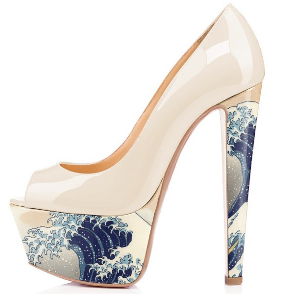 Women's White Waves Printed Chunky Heels Pumps Shoes image 2