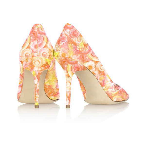Office Floral Heels Orange Flower Pointed Toe Stiletto Heel Pumps image 3