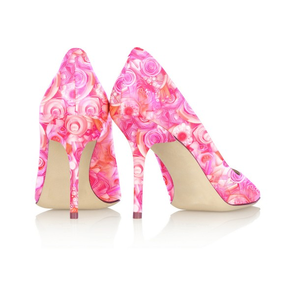 4 inch Heels Pink Floral Heels Pointy Toe Formal Stiletto Heel Pumps image 3