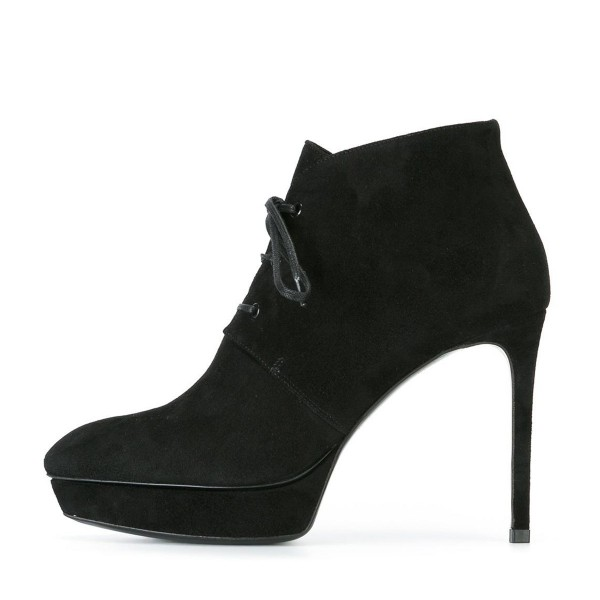 Black Lace up Boots Stiletto Heel Ankle Booties with Platform image 4