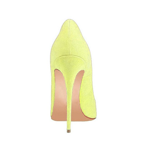 On Sale Yellow Pointy Toe Suede Stiletto Heels Pumps image 3