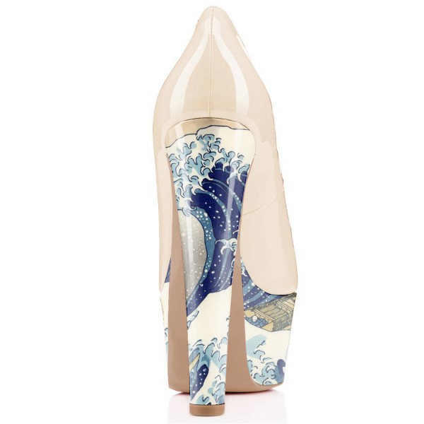 Women's White Platform Heels Waves Printed Dress Shoes Chunky Heels Pumps  image 3