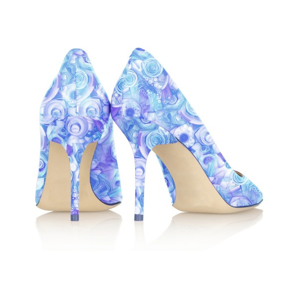 Women's Esther Blue Floral Heels Stiletto Heel Pumps image 3