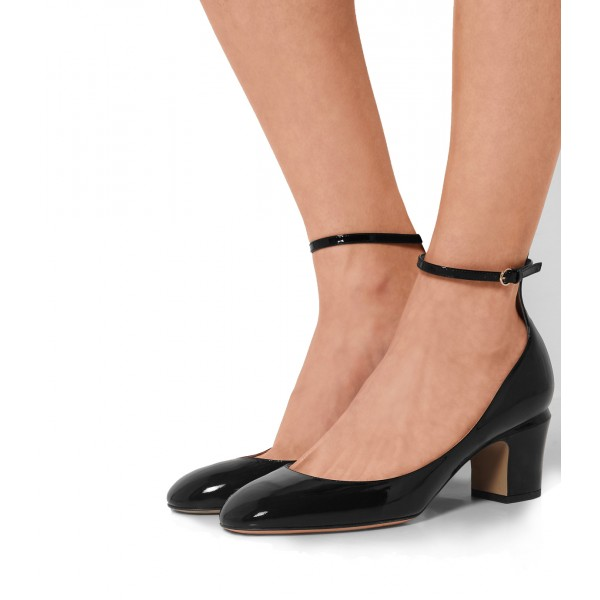 Black Round Toe Block Heel Ankle Strap Pumps for Ladies image 3