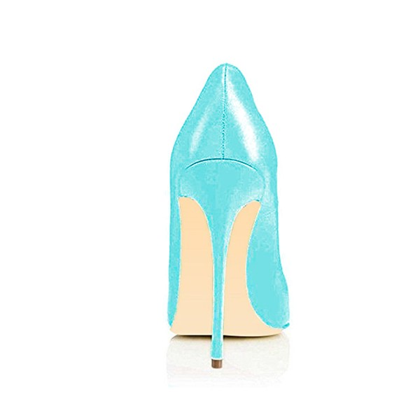 Women's Cyan Leather Stiletto Heels Office Pumps Dress Shoes image 4