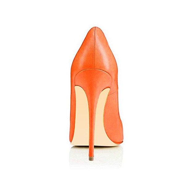 Women's Orange Commuting Stiletto Heels Pumps Shoes image 4