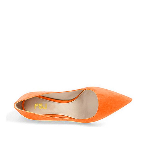 On Sale Orange Kitten Heels Pointy Toe Suede Pumps for Women image 4