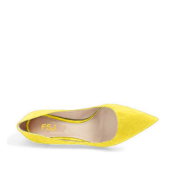 Yellow Kitten Heels Pointy Toe Suede Pumps Office Shoes image 4