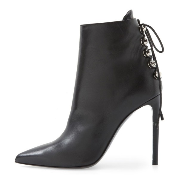 Black Stiletto Boots Pointy Toe Back Lace up Booties with Silver Studs image 2