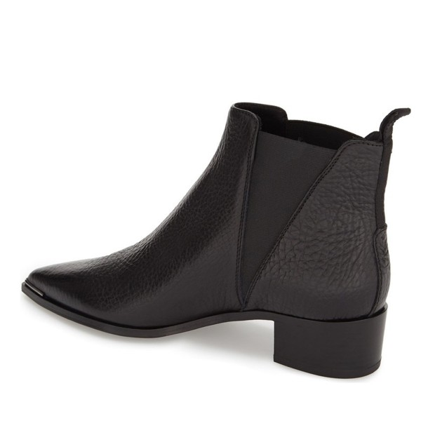 Black Chunky Heel Boots Pointy Toe Slip-on Ankle Boots image 2