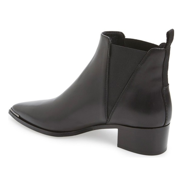 Black Chunky Heel Pointy Toe Slip-on Ankle Chelsea Boots for Work image 4