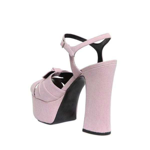 FSJ Pink Chunky Heel Sandals Peep Toe Platform High Heels with Bow image 5