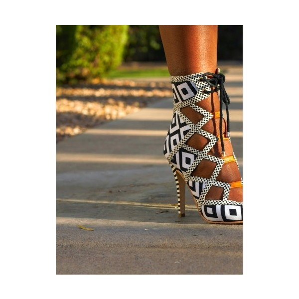 Black and White Heels Lace Up Peep Toe Strappy Sandals  image 2