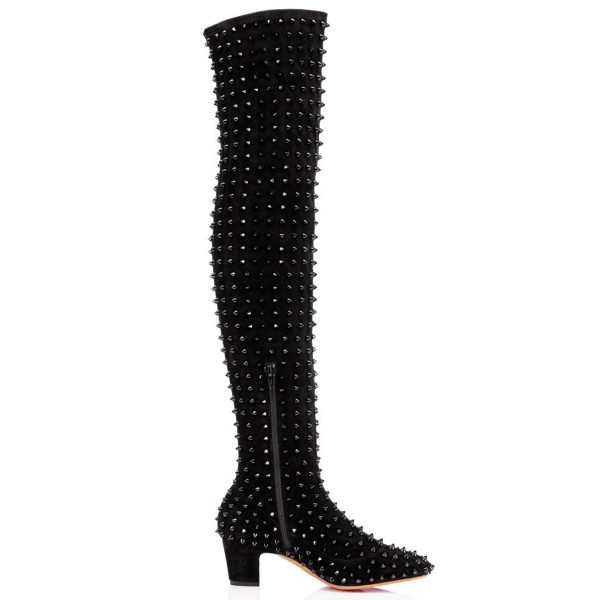 Black Chunky Heel Boots Rivets Pointy Toe Ove-the-Knee Boots image 2