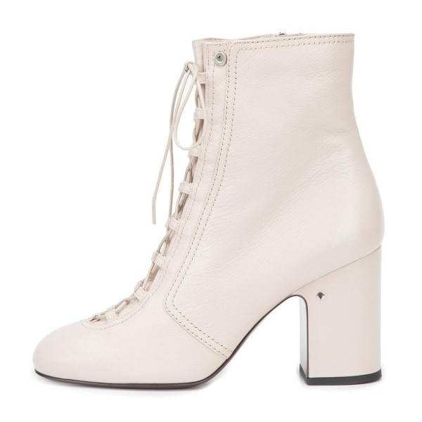 2019 Fall Ivory Chunky Heel Boots Lace up Round Toe Ankle Boots image 4