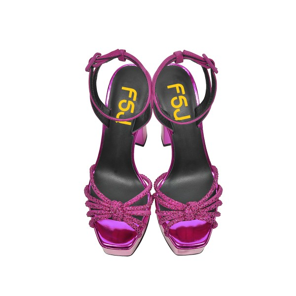 Fuchsia Prom Shoes Ankle Strap Chunky Heel Sandals Evening Shoes image 4