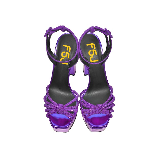 Purple Prom Shoes Chunky Heel Ankle Strap Platform Sandals image 4