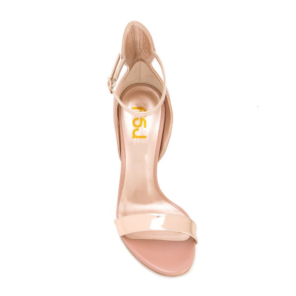 Nude Patent Barely There Ankle Strap Strappy Sandals High