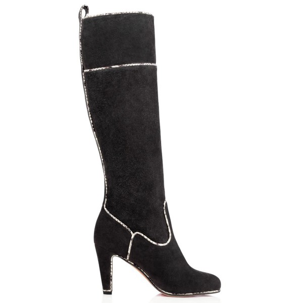 Dark Grey Long Boots Suede Chunky Heel Knee-high Boots image 3