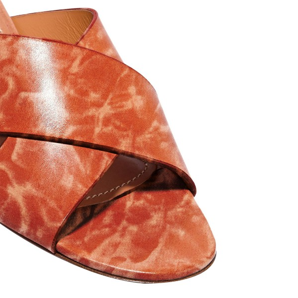 Brick Red Chunky Heel Sandals Comfortable Shoes for Women image 4