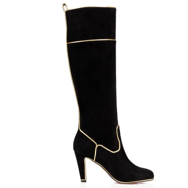 Black Long Boots Suede Chunky Heel Knee-high Boots image 2