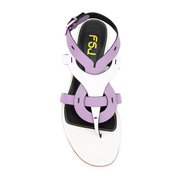 FSJ White and Purple Thong Sandals Trending Flat Summer Sandals image 4