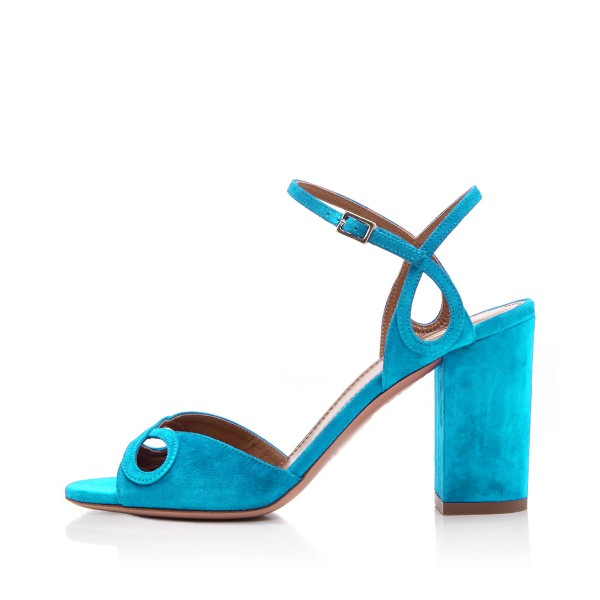 Light Blue Heels Suede Ankle Strap Sandals Form Shoes for Prom image 4