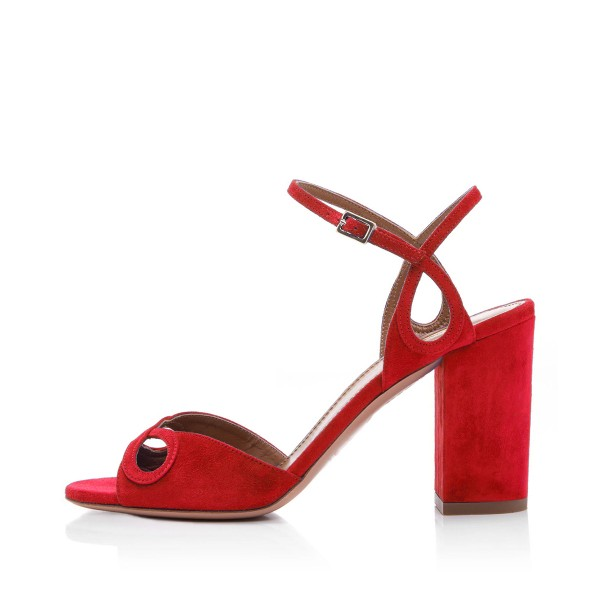 Red Heels Ankle Strap Sandals Form Shoes for Prom image 4