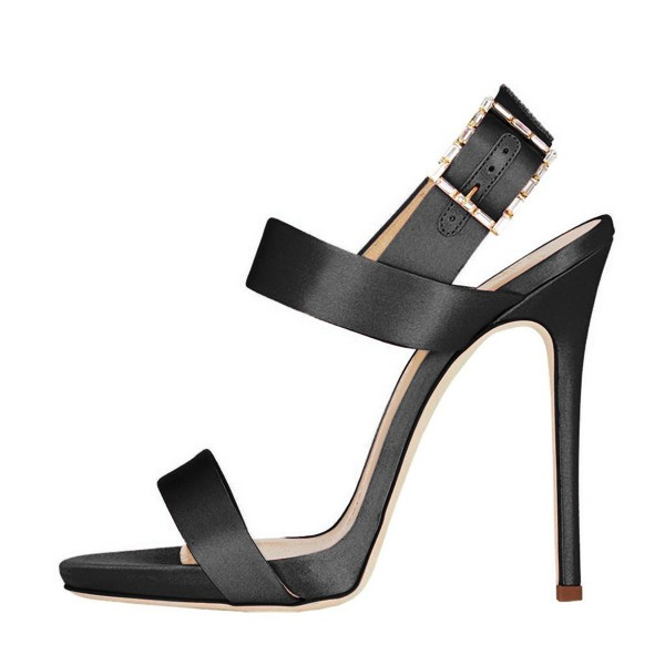Black Satin Office Sandals Slingback Heels Sandals for Work image 2