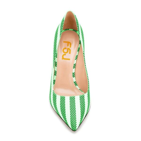 Green and White Stripes 3 Inch Heels Pointy Toe Spool Heel Pumps image 4