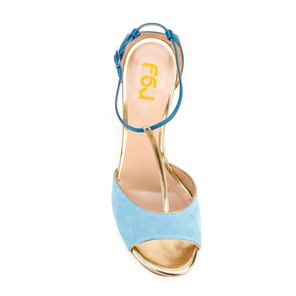 Light Blue Wedge Sandals T-strap Suede Peep Toe Platform Heels image 4
